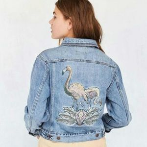 Urban Outfitters BDG Flamingo Denim Trucker Jacket